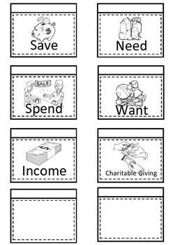 Financial Literacy Flip Flaps-Interactive Notebooks (Save,