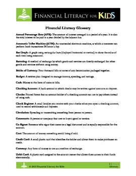 Financial Literacy Vocabulary Terms