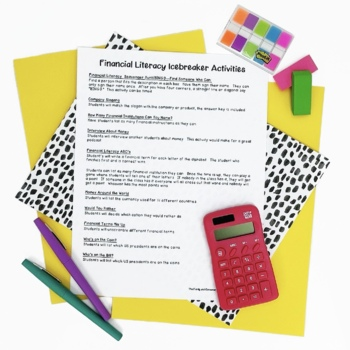 Financial Literacy Icebreaker Activities