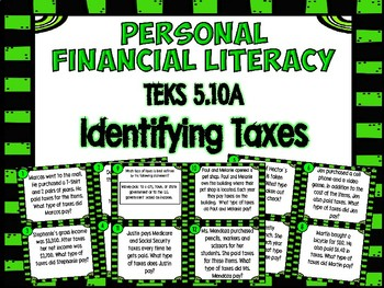 Financial Literacy - Identifying Taxes Task Cards- TEKS 5.10A
