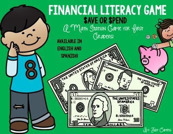 Financial Literacy Math Station Game. Perfect for *First Grade* Eng. and Spa.