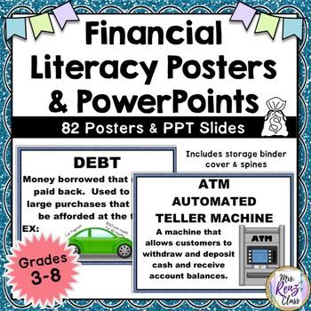 Math Financial Literacy Word Wall Posters (Grades 3-8)