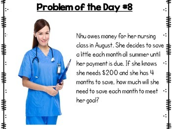 Financial Literacy Problem Solving for Interactive Notebooks or Math Journals
