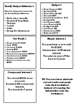 Financial Literacy Project/Assessment - 7th Grade Math