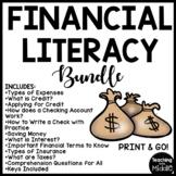 Financial Literacy Reading Comprehension Worksheet Bundle Center Activities