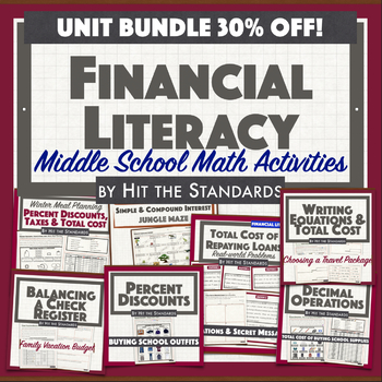 Financial Literacy Real Life Problems for Middle School Math Activities 30%OFF