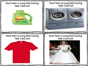 Financial Literacy Short Term or Long Term Sorting Task Cards