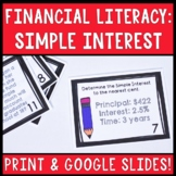 Financial Literacy: Simple Interest Task Cards