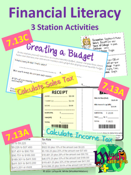 Financial Literacy Station Activities 7.13A 7.13C