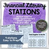 Financial Literacy Stations-Check Register, Credit Report, Credit and Debit Card