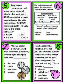 Financial Literacy Task Cards: Texas 4th Grade Math