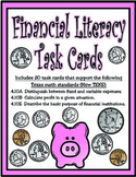 Financial Literacy Task Cards: Texas 4th Grade Math (TEKS 4.10A, 4.10B, 4.10E)