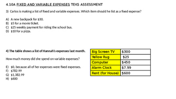 Financial Literacy Unit Fixed and Variable Expense entire lesson