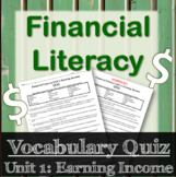 Financial Literacy Vocabulary Quiz - Earning Income