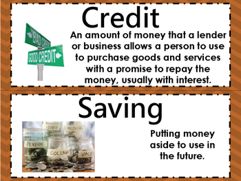 Financial Literacy Vocabulary Word Wall Cards STAAR TEKS 3.9ABCDE