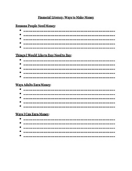 Financial Literacy: Ways to Earn Money