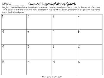 Financial Literacy Word Problem Search