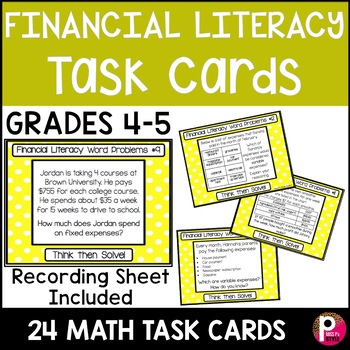 Financial Literacy Word Problem Task Cards