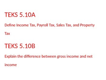 Financial Literacy, math TEKS 5.10A & B Income & Taxes Vocab and Word Wall Cards