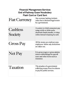 Financial Management-Services  End of Pathway Exam Vocabulary  Flash Card - EOPA