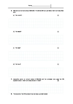 Financial Mathematics TEST (Money, Income, Tax)