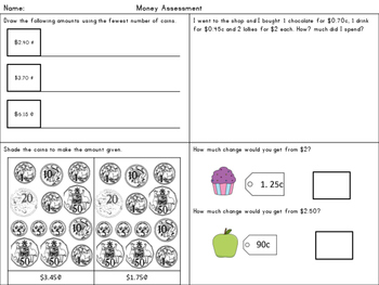 Financial Maths Money Assessment Task (Pre or Post) Differentiated