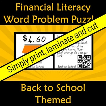 Financial Money Literacy Back to School Word Problem Puzzles with QR Code