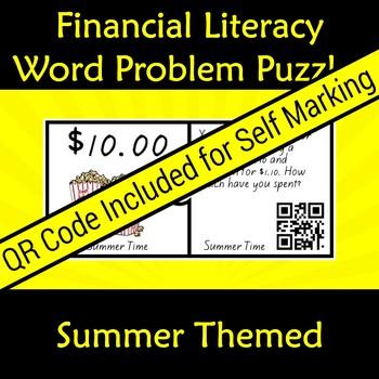 Financial Money Literacy Word Problem Puzzles QR Code