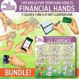 Financial Skills & U.S. Currency Bundle Clip Art Illustrations