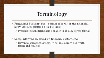 Financial Statements and Financial Statement Terminology