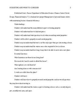Financial literacy - Unit Plan budget, checks, credit, rent