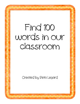 Find 100 Words in Our Classroom
