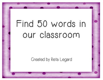 Find 50 Words in Our Classroom