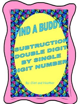Find A Buddy Subtraction Double Digit by Single Digit Numbers