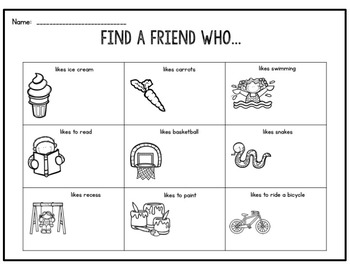 Find A Friend: Back to School Classbuilding Activity