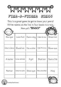 Find A Friend Bingo - Ice Breaker, Back to School Activity