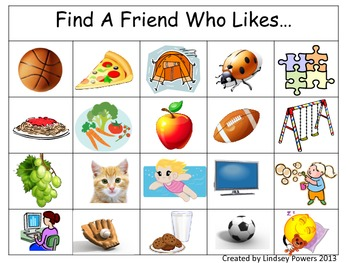 Find A Friend Who Likes... (A Get to Know You Game)