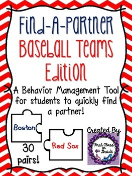 Find A Partner Cards (Baseball Teams)