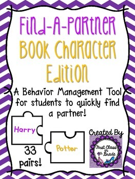 Find A Partner Cards (Book Characters)