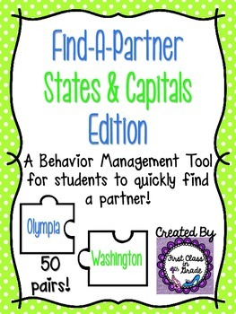 Find A Partner Cards (States and Capitals)