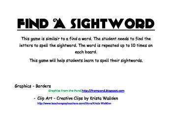 Find A Sightword Set 2