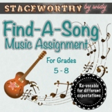Find-A-Song Music Assignment Grades 5 - 8 - Distance Learn