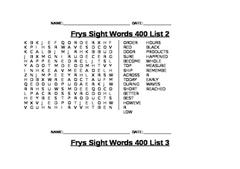 Find-A-Words for Fry's Fourth 100 Sight Words