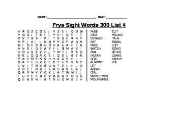 Find-A-Words for Fry's Third 100 Sight Words