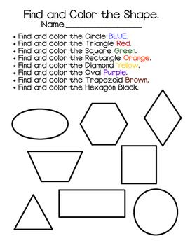 Find And Color Shape Worksheet