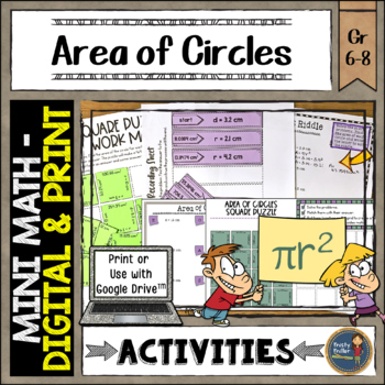 Find Area of Circles Math Activities Google Slides and Printable