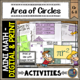 Area of Circles Math Activities Google Slides and Printable Pi Day Middle School