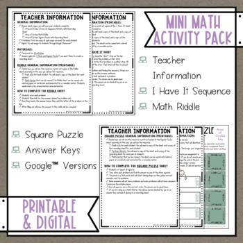 Area of Circles Math Activities Puzzles and Riddle Pi Day Middle School