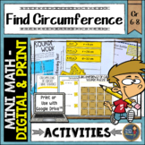 Circumference Math Activities Pi Day Middle School Distance Learning