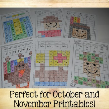 Find & Color Activities - Editable Fall Worksheets